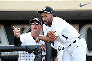 WINSTON-SALEM, NC - JUNE 02: Wake Forest's Donnie Sellers (1) with coach Bill Cilento (37). The Wake Forest Demon Deacons hosted the University of Maryland Baltimore County Retrievers on June 2, 2017, at David F. Couch Ballpark in Winston-Salem, NC in NCAA Division I College Baseball Tournament Winston-Salem Regional Game 2. Wake Forest won the game 11-3.