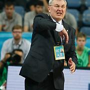 CSKA Moscow's coach Jonas Kazlauskas during their Euroleague Final Four semifinal Game 1 basketball match CSKA Moscow's between Panathinaikos at the Sinan Erdem Arena in Istanbul at Turkey on Friday, May, 11, 2012. Photo by TURKPIX