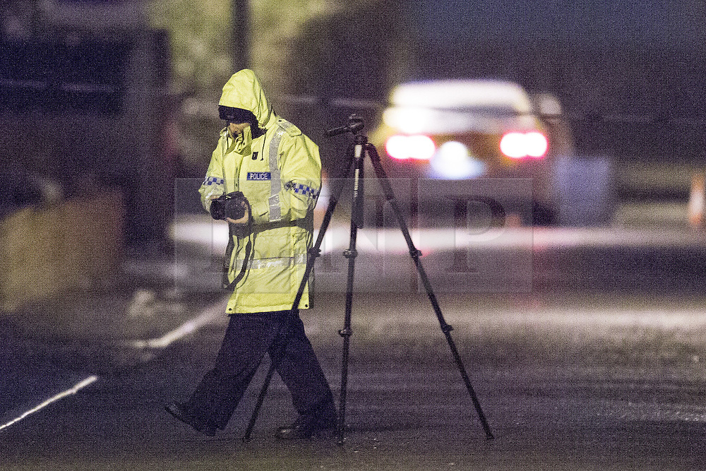 © Licensed to London News Pictures . 29/02/2016 . Manchester , UK . Scene outside the Masjid Hamza Mosque on Moss Lane West , where an 11 year old boy was killed by an as yet unidentified hit and run driver this evening (Monday 29th February 2016) . Photo credit : Joel Goodman/LNP