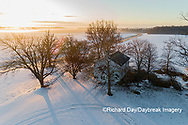 63895-17514 Aerial view of Pleasant Grove Church at sunrise in winter Marion Co. IL