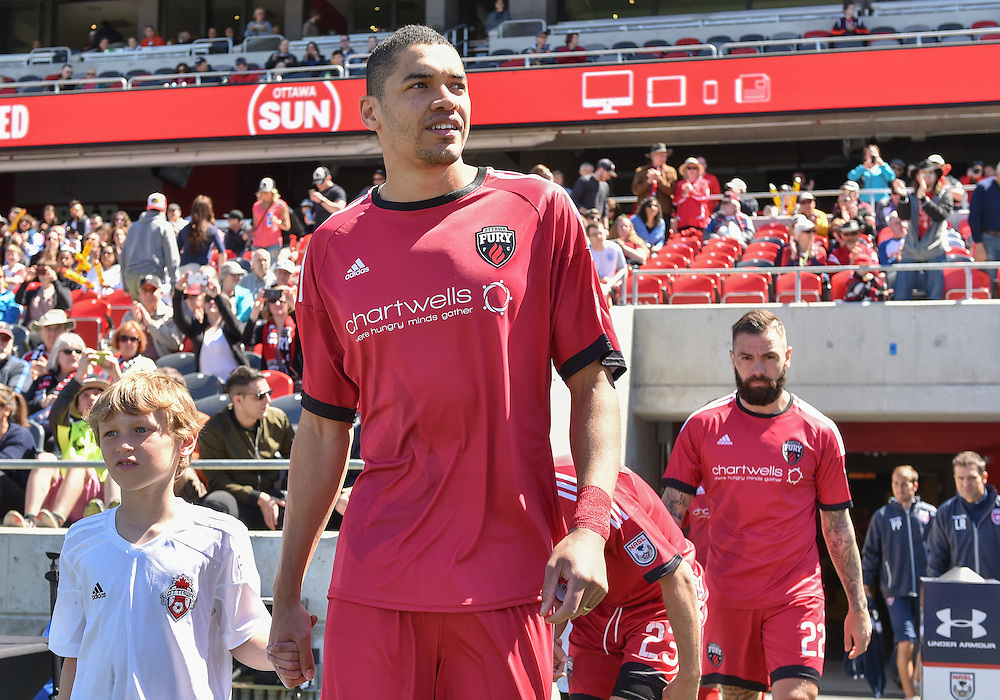 Ottawa Fury FC defender Onua Obasi (#14) prior to the NASL match between the Ottawa Fury FC and Miami FC at TD Place Stadium in Ottawa, ON. Canada on April 30, 2016. The Fury claiming their first win of the season with a 2-0 victory thanks to goals from Fernando Timbo and Dennis Chin.<br /> <br /> PHOTO: Steve Kingsman/Freestyle Photography