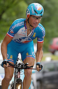 FRANCE 21st JULY 2007: Bouygues Telecom's Thomas Voeckler powers through the rain on stage 13 of the Tour de France cycle race. This stage was a time trial.