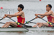 Plovdiv, Bulgaria, 10th May 2019, FISA, Rowing World Cup 1, CHN LM2X, at the start of their heat, Blade work and crossover, Start Area, [© Peter SPURRIER/Intersport Images],