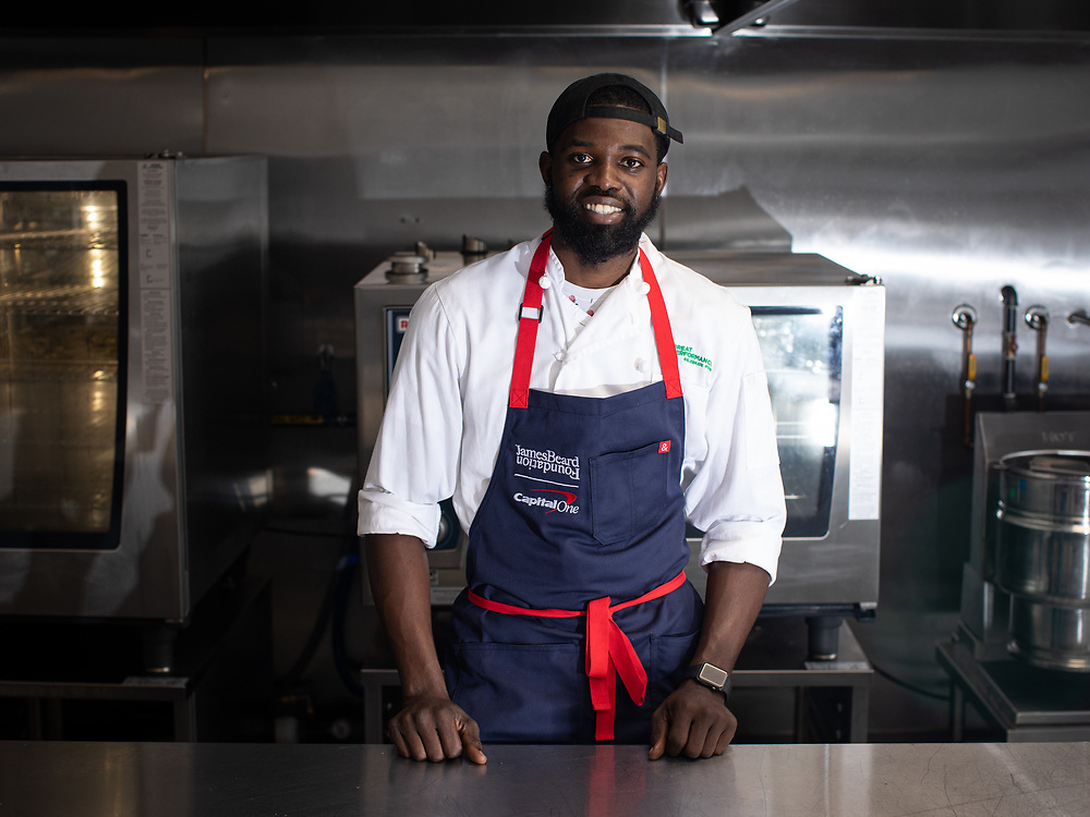 Bronx, NY - September 17, 2021: In the kitchen with James Beard House Fellow Kencito Vernon, testing the recipe for his Beard Box with the team at Great Performances in The South Bronx.<br /> <br /> Photo by Clay Williams.<br /> <br /> © Clay Williams / http://claywilliamsphoto.com