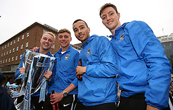Coventry City's Jack Grimmer (left), Tom Davies (second left), Rod McDonald and Dominic Hyam (right) during the Sky Bet League Two promotion parade in Coventry. PRESS ASSOCIATION Photo. Picture date Wednesday May 30, 2018. See PA story SOCCER Coventry. Photo credit should read: Nigel French/PA Wire