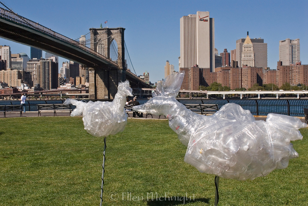 """""""Chicken Invasion"""" Art Installation Made of Recyclable Plastic Materials in Brooklyn Bridge Park by Artist Alfonso Munoz"""