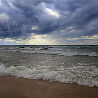 """""""Feel the Earth Move""""<br /> <br /> Wonderful swirling storm clouds and waves on Lake Michigan!"""