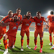 Istanbul Basaksehir's players celebrate his goal during their Turkish Super League soccer match Istanbul Basaksehir between Fenerbahce at the Basaksehir Fatih Terim Arena at Basaksehir in Istanbul Turkey on Monday, 25 May 2015. Photo by Aykut AKICI/TURKPIX