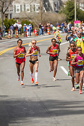 2014 Boston Marathon: lead pack of elite women race near mile 17, Shalane Flanagan, Deba