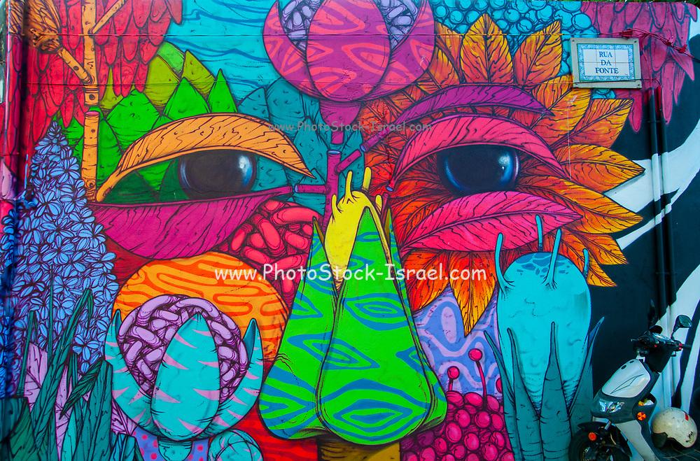 Colourful elaborate graffiti of a face. Photographed in Figueira da Foz, Portugal