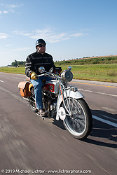 Mike Jensen riding his 1916 Excelsior in the Motorcycle Cannonball coast to coast vintage run. Stage 7 (274 miles) from Cedar Rapids to Spirit Lake, IA. Friday September 14, 2018. Photography ©2018 Michael Lichter.