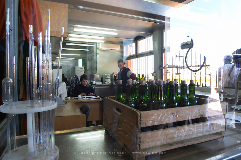 The winery laboratory seen through a window with equipment to analyse the wine. Bodega Pisano Winery, Progreso, Uruguay, South America