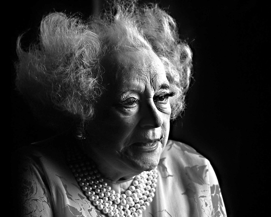 British romantic novelist Dame Barbara Cartland photographed in Northampton in 1989.