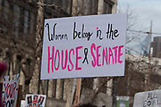 """San Francisco, USA. 19th January, 2019. The Women's March San Francisco proceeds down Market Street. A protester sign held in the air reads: """"Women belong in the House and Senate."""" Credit: Shelly Rivoli/Alamy Live News"""
