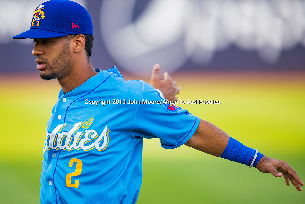 Amarillo Sod Poodles infielder Ivan Castillo (2) against the Tulsa Drillers during the Texas League Championship on Wednesday, Sept. 11, 2019, at HODGETOWN in Amarillo, Texas. [Photo by John Moore/Amarillo Sod Poodles]