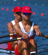 Atlanta, United States of America. Gold Medalist: CAN W2X.  Stroke: Kathleen HEDDLE  and Bow Marnie McBEAN, 1996 Olympic Regatta, Lake Lanier, Gainesville<br /> <br />  Georgia. [Mandatory Credit: Peter Spurrier: Intersport Images]