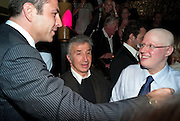 DAVID WALLIAMS; JAMES PELTEKIAN; MATT LUCAS, Party after the opening of  'Prick Up Your Ear's'  at the Comedy theatre. Cafe de Paris. Leicester Sq. London. 30 September 2009