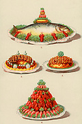 Fish, shellfish and meat dishes garnished ready for serving at a dinner party. Chromolithograph from 'Cassell's Book of the Household' (London, c1895).