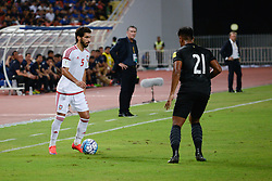 June 13, 2017 - Bangkok, Bangkok, Thailand - TARIQ HASSAN (L) of the UAE in action against Thailand's Siroch CHATTHONG (R) during the FIFA World Cup 2018 qualifying soccer match between Thailand and the United Arab Emirates at the Rajamangala stadium in Bangkok, Thailand, 13 June 2017. (Credit Image: © Anusak Laowilas/NurPhoto via ZUMA Press)