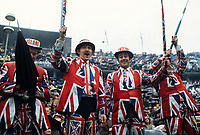 England fans cheer on their team West Germany v England 1972 13/05/72 Credit : Colorsport