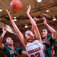 120513       Cable Hoover<br /> <br /> Gallup Bengal Rhiannon Spencer (33) grabs a rebound away from Wingate Bears Shyler Lowley (32) and Deandra Dawes (23) during the first round of the John Lomasney Girls Basketball Tournament Thursday at Gallup High School.