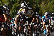 France, October 10 2010: A TOPSPORT VLAANDEREN-MERCATOR (TSV) rider on the Côte de l'Epan during the 2010 Paris Tours cycle race.  Copyright 2010 Peter Horrell