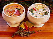 Homemade chicken broth used two ways - red curry chicken soup and Asian noodle soup, prepared by Chef Kirste Dixon of Winterlake Lodge, Alaska.