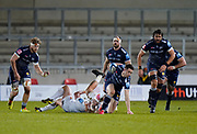 Sale Sharks full back Luke James slips a tackle during a Gallagher Premiership Round 11 Rugby Union match, Friday, Feb 26, 2021, in Eccles, United Kingdom. (Steve Flynn/Image of Sport)