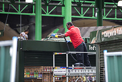 June 12, 2017 - London, London - London, UK. A man cleans the top of a stall in Borough Market as traders begin clearing up ahead and prepare to reopen. The market was the scene of a terrorist attack on Saturday 3 June 2017 in which eight people were killed. (Credit Image: © Rob Pinney/London News Pictures via ZUMA Wire)