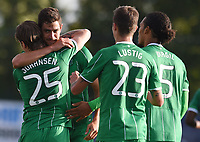 22/07/15 UEFA CHAMPIONS LEAGUE QUALIFIER 2ND LEG<br /> STJARNAN v CELTIC <br /> STJORUVOLLUR - ICELAND<br /> Celtic's Nir Bitton (second from left) celebrates having scored the equaliser