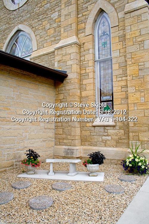 Meditative cremation garden. Bethlehem Lutheran Church Lanesboro Minnesota MN USA