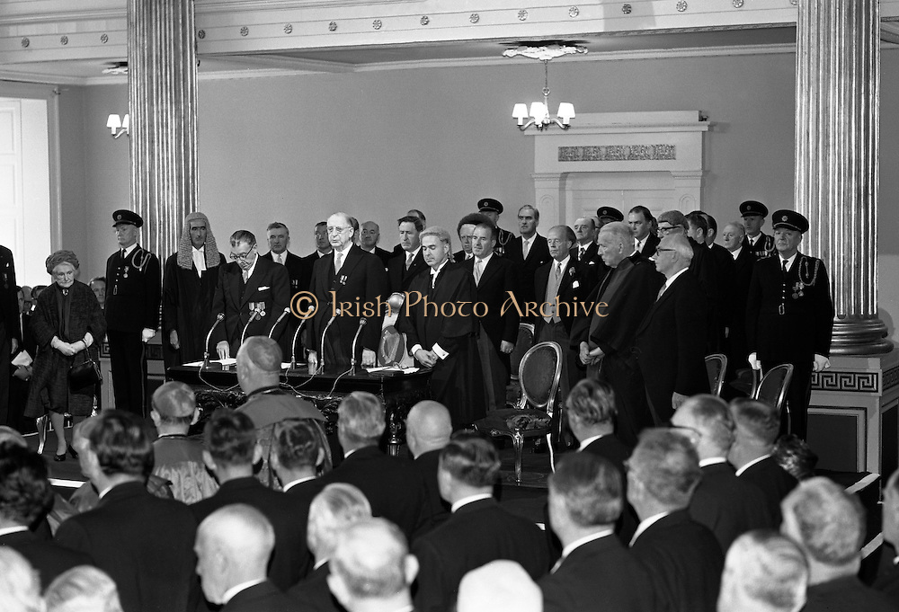Inauguration of Eamon de Valera as President. De Valera takes the oath of office administered by the Chief Justice, Cearbhaill O'Dalaigh, An Taoiseach Seán Lemass and members of the government..25.06.1966<br /> Irish Historical Pictures of Taoiseach Eamon de Valera,<br /> Irish Vintage Image of Taoiseach Eamon de Valera,<br /> Irish Vintage Photographs of Taoiseach Eamon de Valera, <br />   Irish Political Events of Ireland in 1950s, <br /> Old Ireland Photographs of Taoiseach Eamon de Valera,<br /> Old Ireland Photographs of Taoiseach Eamon de Valera,<br /> old photo of Taoiseach Eamon de Valera,<br /> old photographs of Taoiseach Eamon de Valera, <br /> old photos of Taoiseach Eamon de Valera,<br /> old picture of Taoiseach Eamon de Valera,<br /> old pictures of Taoiseach Eamon de Valera,<br /> photo  of Taoiseach Eamon de Valera,<br /> photo history of Taoiseach Eamon de Valera,<br /> photographs of Taoiseach Eamon de Valera,<br /> photos of Taoiseach Eamon de Valera,<br /> picture of Taoiseach Eamon de Valera,<br /> pictures of Taoiseach Eamon de Valera,<br /> Pictures of Taoiseach Eamon de Valera,  <br /> vintage photos of Taoiseach Eamon de Valera,  <br /> vintage pictures of Taoiseach Eamon de Valera,  <br /> Irish historic images of Taoiseach Eamon de Valera,  <br /> Irish historic photo of Taoiseach Eamon de Valera,  <br /> Irish historic photographs of Taoiseach Eamon de Valera,  <br /> Irish historic photos of Taoiseach Eamon de Valera,  <br /> Irish historic photos of Taoiseach Eamon de Valera,  <br /> Irish historic pictures of Ireland in 1950s, <br /> Irish historic sites of Taoiseach Eamon de Valera,  <br /> Irish historical images of Taoiseach Eamon de Valera,  <br /> Irish historical pictures of Taoiseach Eamon de Valera, <br /> Irish history of pictures of Taoiseach Eamon de Valera,  <br /> Irish history photo of Taoiseach Eamon de Valera,  <br /> Irish history photos of Taoiseach Eamon de Valera,  <br /> Irish history pictures of Taoiseach Eamon d