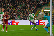 Jesus Fernandez saves from close range during the Europa League match between Celtic and CFR Cluj at Celtic Park, Glasgow, Scotland on 3 October 2019.
