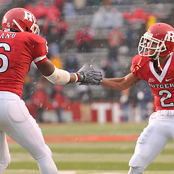Dec 5, 2009; Piscataway, NJ, USA; Rutgers wide receiver Mohamed Sanu (6) celebrates his touchdown reception with wide receiver Tim Brown (2) during second half NCAA Big East college football action in West Virginia's 24-21 victory over Rutgers at Rutgers Stadium.
