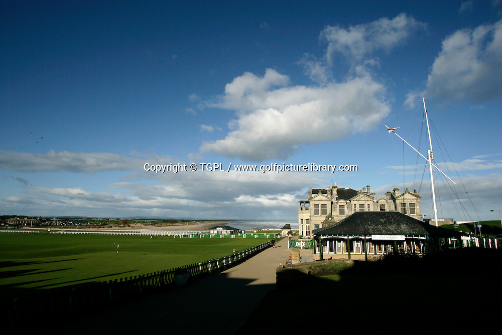 General view of 18th green,1st tee,Links Trust Shop and R&A Clubhouse at ST.ANDREWS Old Course,St.Andrews,Fife,Scotland.