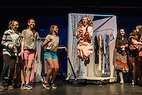"""Chelsea Sasserson / Elle Woods with her sorority sisters during dress rehearsal for """"Legally Blonde"""" with Gilford Middle School on Monday afternoon.  (Karen Bobotas/for the Laconia Daily Sun)"""