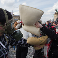 Participants enjoy a pillow fight flashmob on Heroes square in central Budapest, Hungary on April 04, 2015. ATTILA VOLGYI