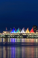 The lights of Canada Place in the early evening in Vancouver, British Columbia, Canada