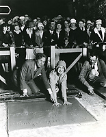 1927 Norma Shearer with Sid Grauman at her hand and footprint ceremony