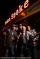 Bryan Lane, Nick Pensebene, Eric Stein, Michael Lichter and Chris Wade at the Iron Horse Saloon during the 78th annual Sturgis Motorcycle Rally. Sturgis, SD. USA. Monday August 6, 2018. Photography ©2018 Michael Lichter.