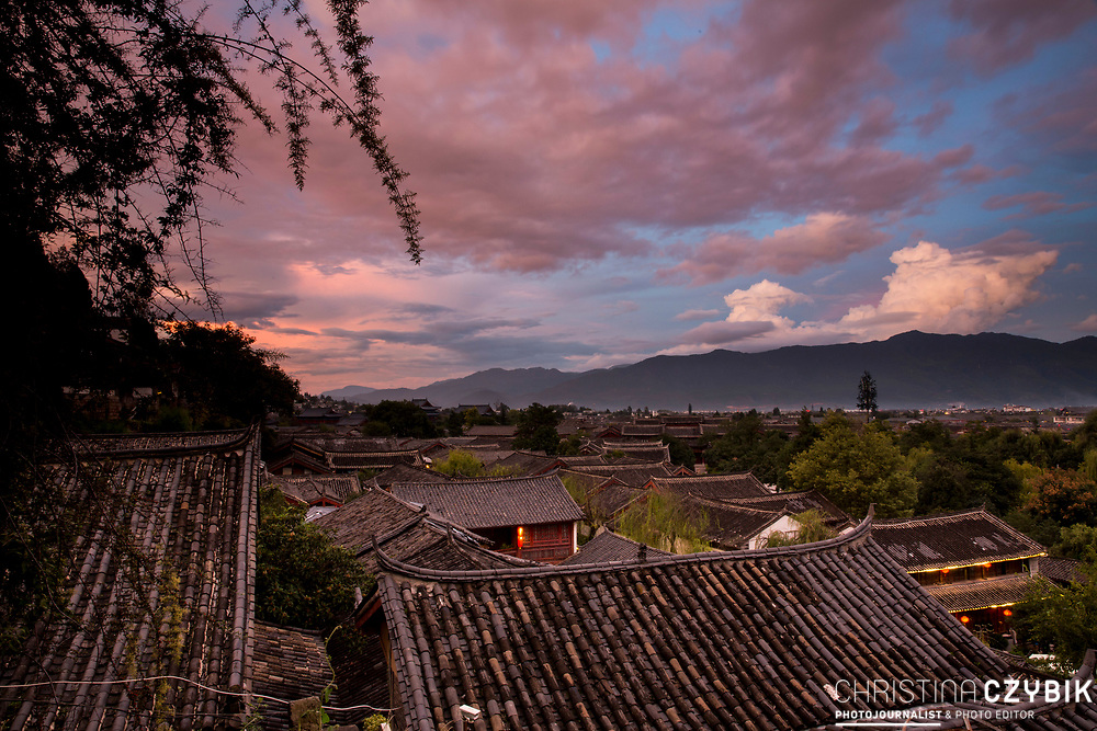 Sunset over Lijiang Old Town, Yunnan Province in China