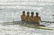 Nottingham, ENGLAND.  <br />  <br />   <br /> Commonwealth Regatta - Nottingham<br /> 20020818<br /> AUS M4X  Stewart Daniel.  Mitchell Punch , Graig Jones and Peter Hardcastle.