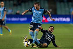 April 28, 2018 - Sydney, NSW, U.S. - SYDNEY, NSW - APRIL 28: Sydney FC defender Luke Wilkshire (26) is fouled by Melbourne Victory forward Christian Theoharous (31) at the A-League Soccer Semi Final Match between Sydney FC and Melbourne Victory on April 28, 2018 at Allianz Stadium in Sydney, Australia. (Photo by Speed Media/Icon Sportswire) (Credit Image: © Speed Media/Icon SMI via ZUMA Press)