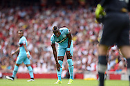 Diafra Sakho of West Ham United looking on.  Barclays Premier League, Arsenal v West Ham Utd at the Emirates Stadium in London on Sunday 9th August 2015.<br /> pic by John Patrick Fletcher, Andrew Orchard sports photography.