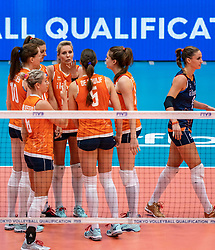 03-08-2019 ITA: FIVB Tokyo Volleyball Qualification 2019 / Netherlands, - Kenya Catania<br /> 3rd match pool F in hall Pala Catania between Netherlands - Kenya. Netherlands win 3-0 / Lonneke Sloetjes #10 of Netherlands, Anne Buijs #11 of Netherlands, Laura Dijkema #14 of Netherlands, Myrthe Schoot #9 of Netherlands, Yvon Beliën #3 of Netherlands, Myrthe Schoot #9 of Netherlands