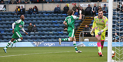 Leatherhead's Jack Midson (centre) celebrates after he scores the opening goal from the penalty spot during the Emirates FA Cup, second round match at Adams Park, Wycombe.