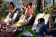 Massage along the Mekong Riverside in Luang Prabang, Laos.