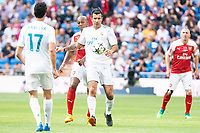 Real Madrid Legends Alvaro Arbelos and Luis Figo and Arsenal Legends Boa Morte during Corazon Classic Match between Real Madrid Legends and Arsenal Legends at Santiago Bernabeu Stadium in Madrid, Spain. June 03, 2018. (ALTERPHOTOS/Borja B.Hojas)