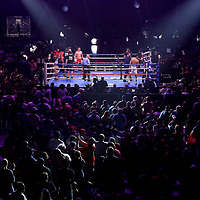 MINNEAPOLIS, MN - JUNE 27:  WBA Super Middleweight Champion David Morrell Jr. (white trunks) and undefeated challenger Mario Cázares box in the first round at The Armory on June 27, 2021 in Minneapolis, Minnesota. David Morrell knocked out Mario Cazares in minute 2:32 of the first round.(Photo by Adam Bettcher/Getty Images) *** Local Caption *** David Morrell Jr; Mario Cázarestt