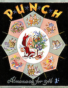 Punch - Almanack Number for 1946 - 29 October 1945..Cover showing Mr Punch as Father Christmas in the middle of a various scenes of the world where troops are stationed...Cartoon by Punch..
